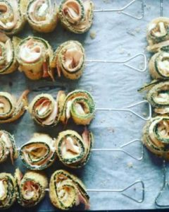 rolled zucchini with mozzarella and mortadella